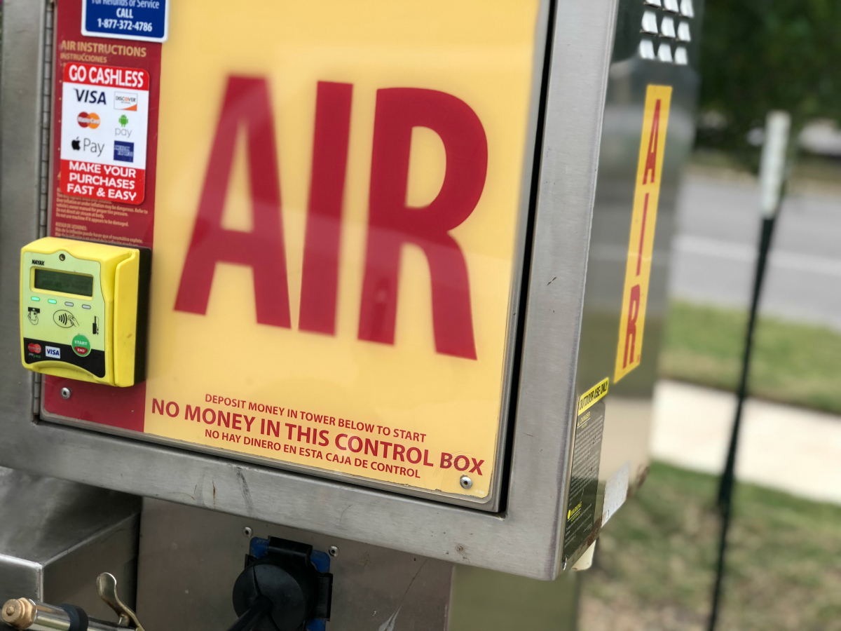 air pump at gas station