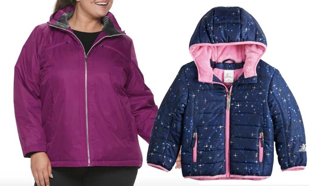 stock image of plus size women's jacket and toddler winter jacket