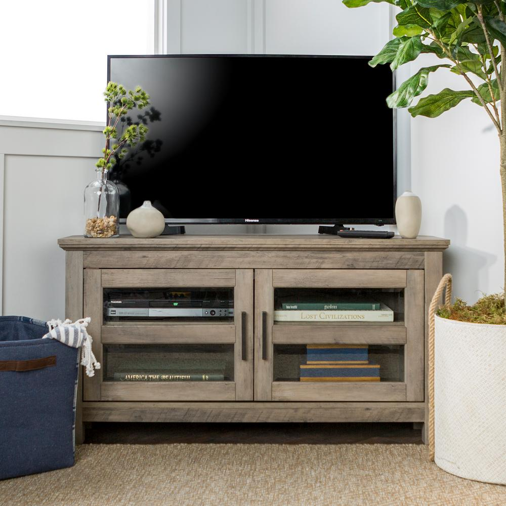 grey wash walker edison tv stand in living area