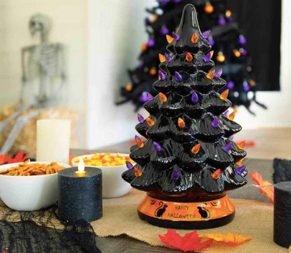 Ceramic Halloween Tabletop Tree on table with snacks and candles