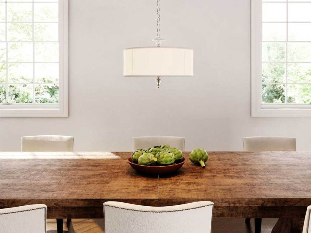 dining room featuring a Waterton Collection 3-Light Chrome Large Pendant