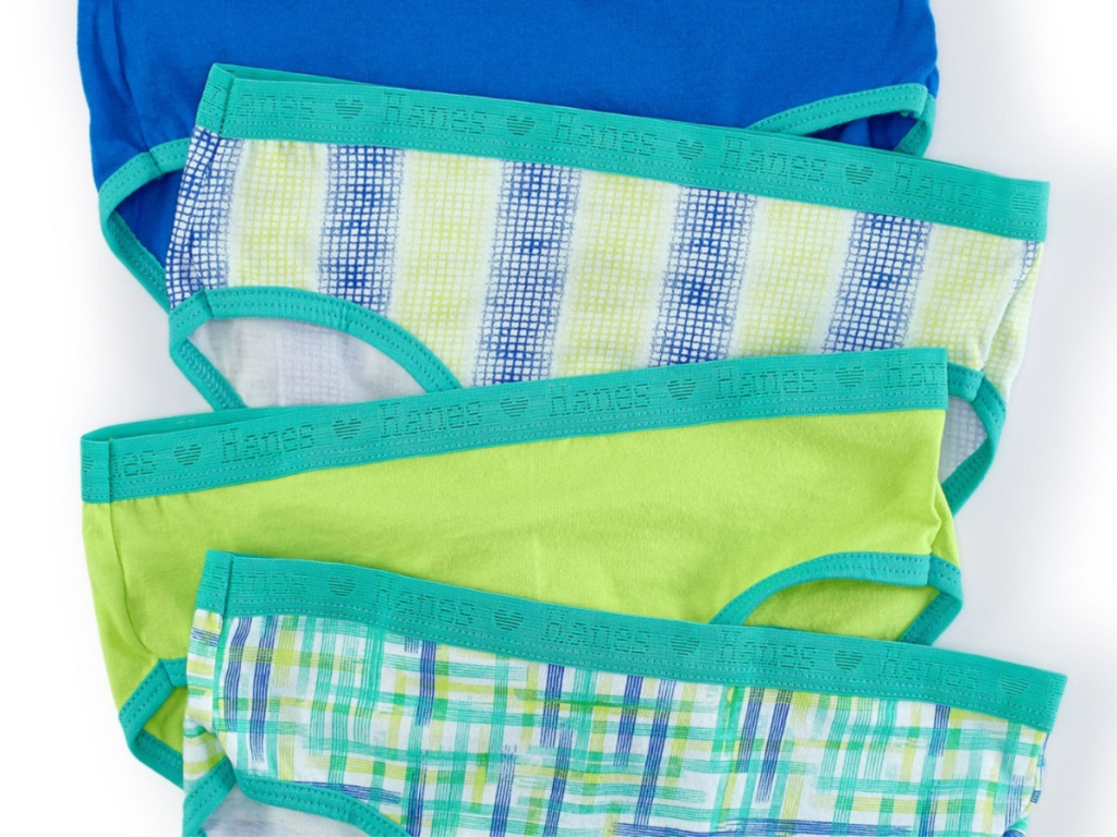 blue and green patterned undies