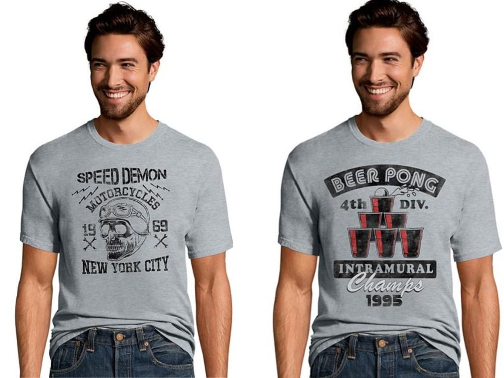 men wearing graphic speed demon and beer pong tees