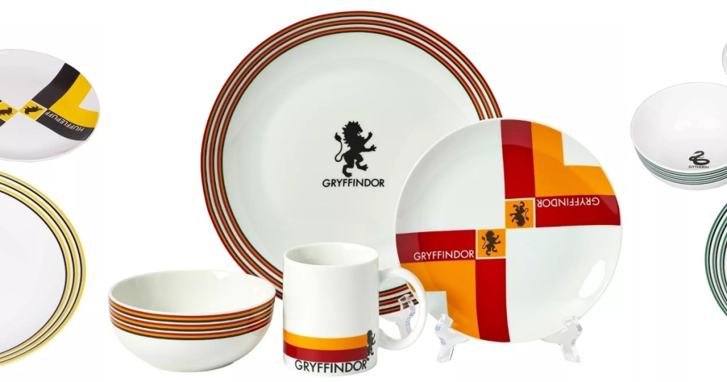 Harry Potter dish set with Gryffindor colors