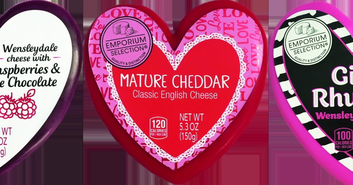 three heart-shaped cheeses from ALDI