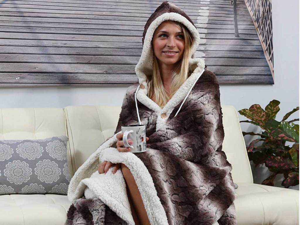 model wearing the Chic Home Design Hooded Snuggle Blanket