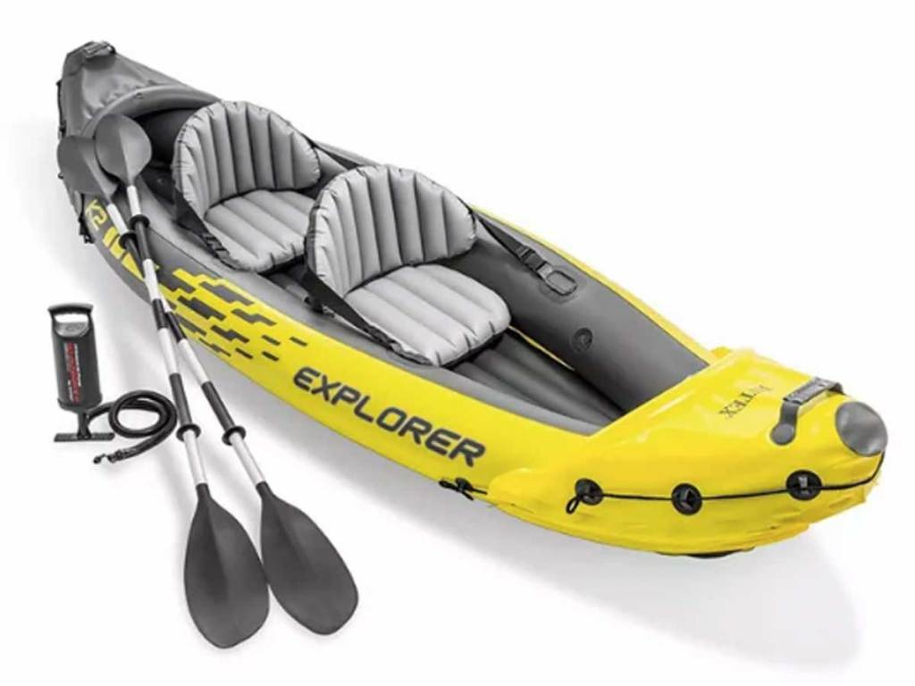 stock image of an Intex Explorer K2 Inflatable Kayak with Oars and Hand Pump