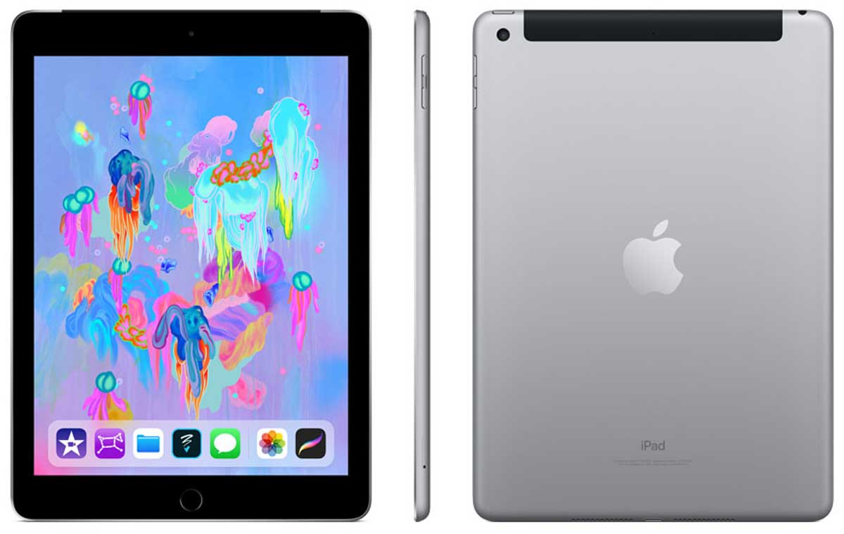 stock image of Apple 128 GB iPad with WiFi + Cellular front, side, and back sides
