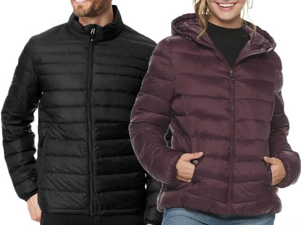 models wearing Men's Heat Keep Nano Modern-Fit Packable Puffer Jackets and women's puffer jacket