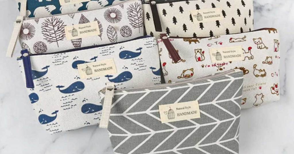 handmade cosmetic bags in a variety of styles