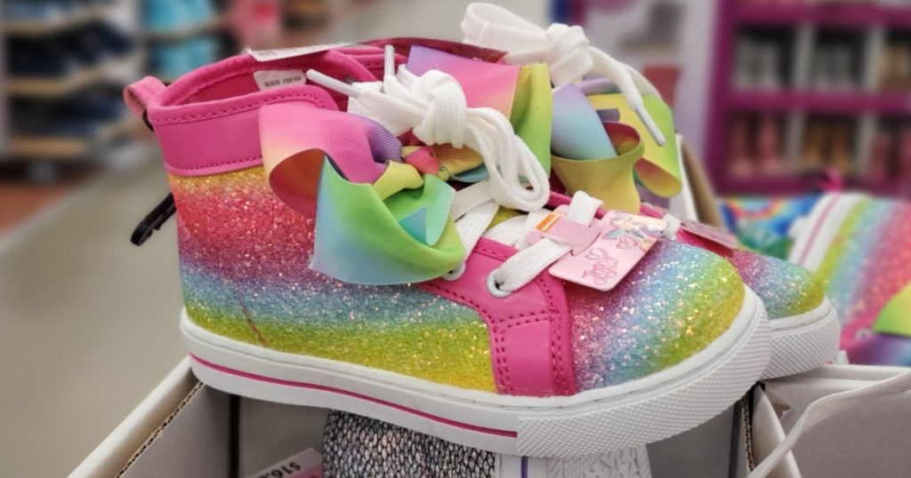 jojo siwa rainbow shoes with a bow and white laces
