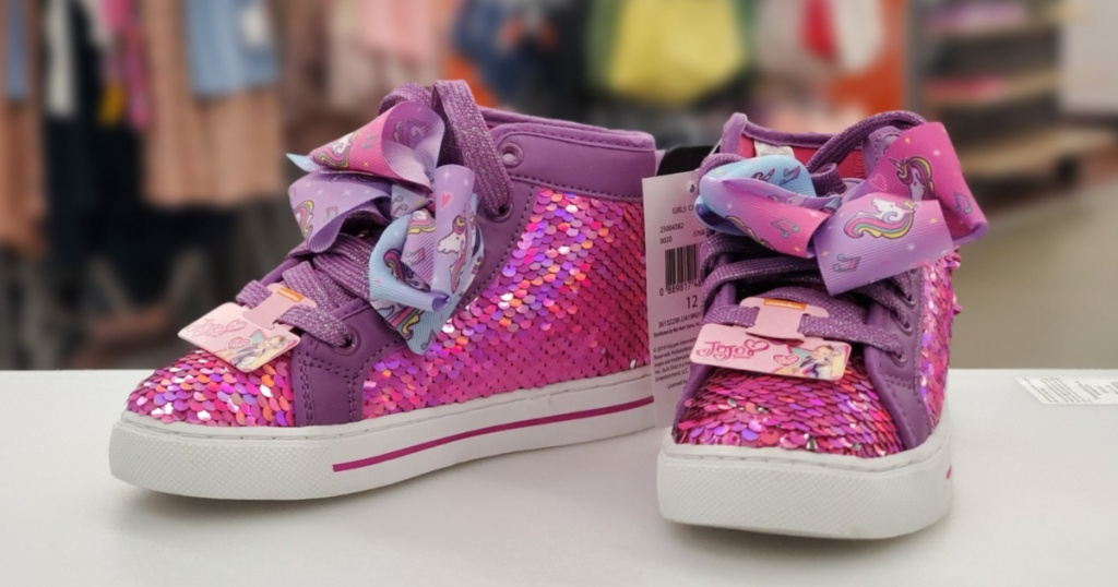 jojo siwa pink sequin shoes with unicorn bow