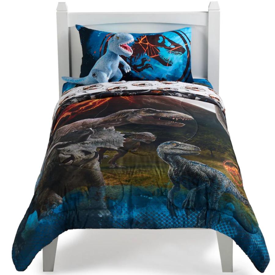 Jurassic Park Bedding set, on a white wooden bed
