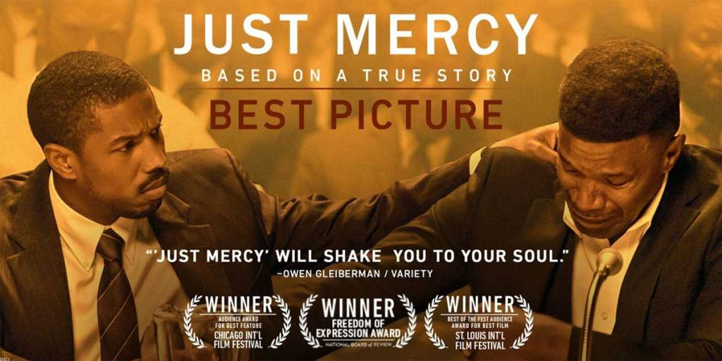 promotional banner for the movie just mercy starrying michael b jordan and jamie foxx