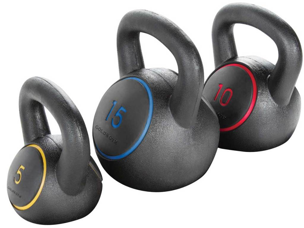 stock image of Gold's Gym Kettlebell Kit 5, 10, 15lbs