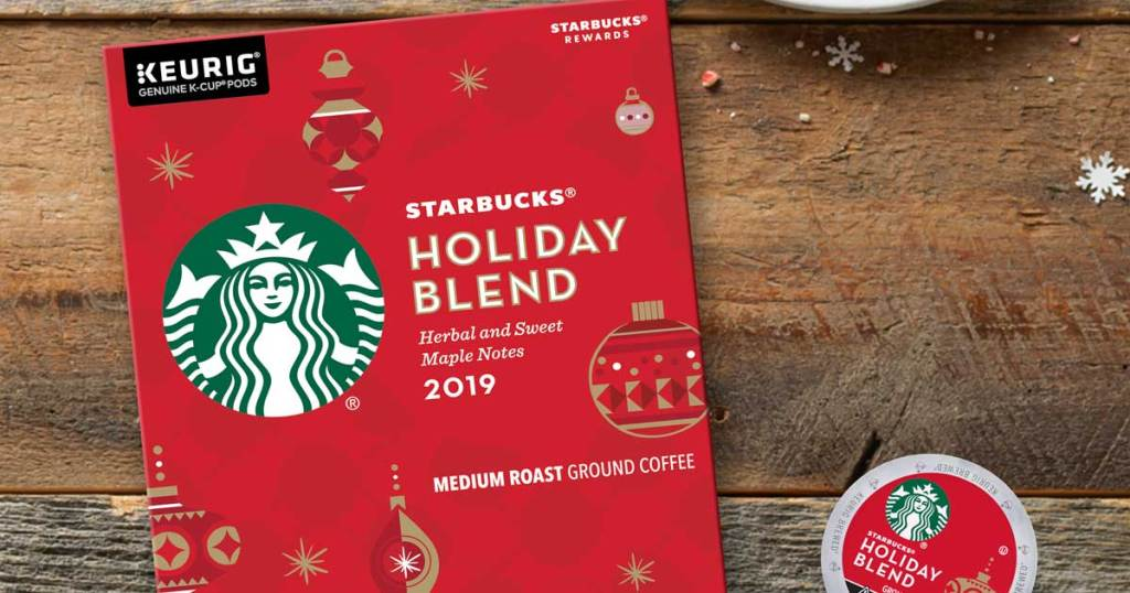 Starbucks Holiday Blend Medium Roast Coffee Single-Cup Coffee for Keurig and pod on wooden background