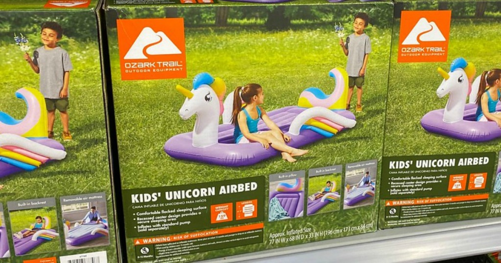 box with unicorn shaped airbed on store shelf