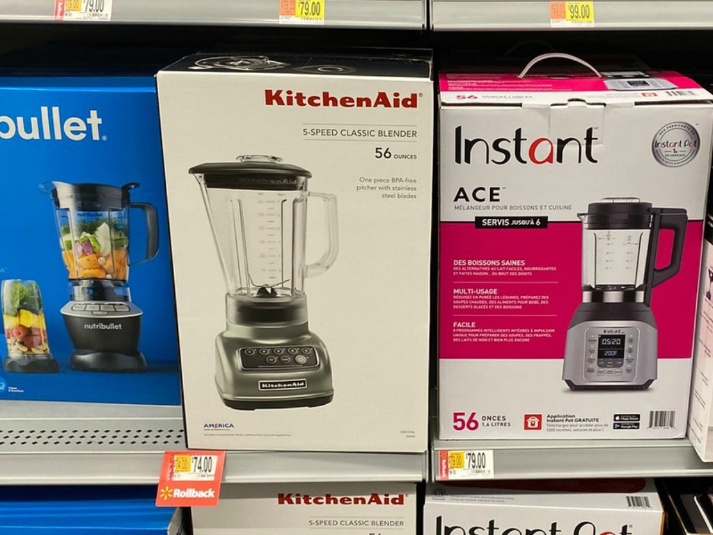 shelf in store with blenders in boxes