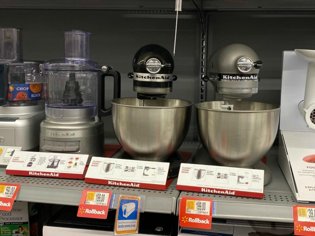 mixers on store shelf with price tags