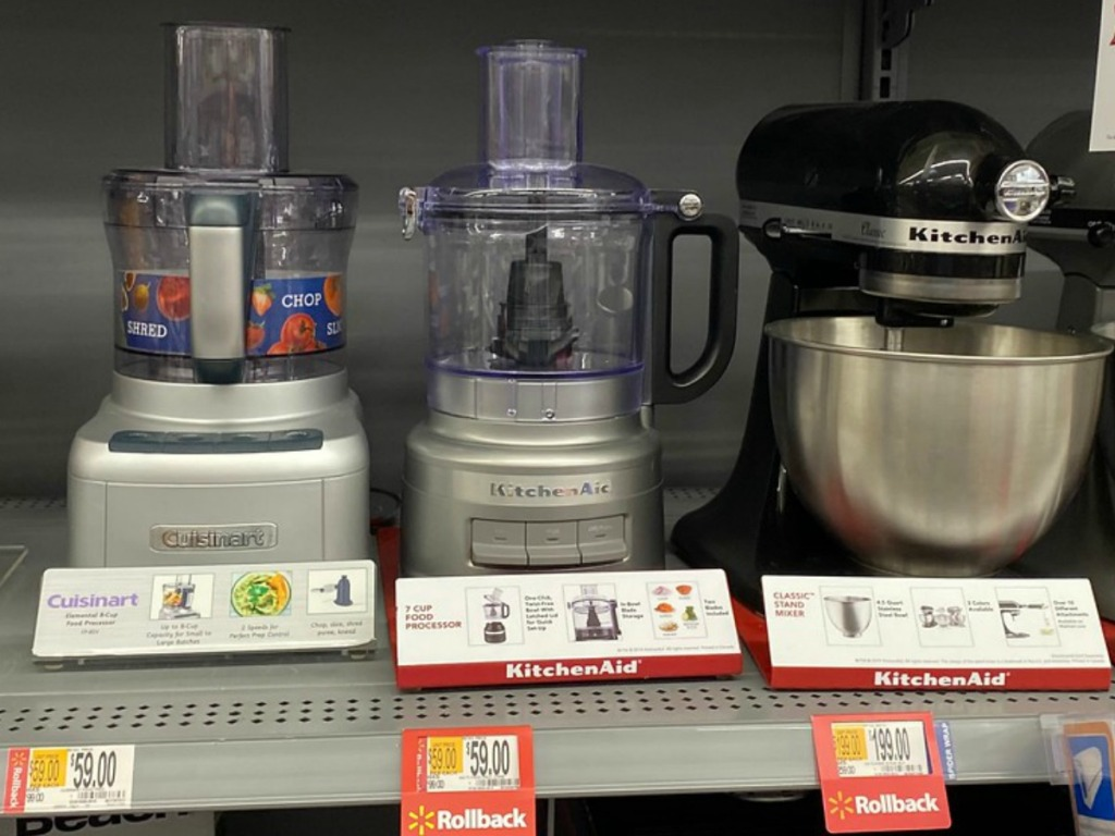 store shelf with kitchen appliances on display