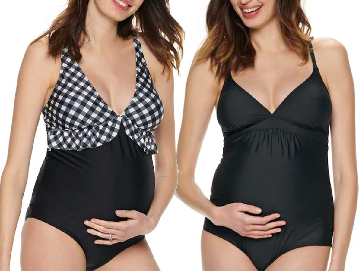 two pregnant models wearing maternity swimsuits in flutter and black
