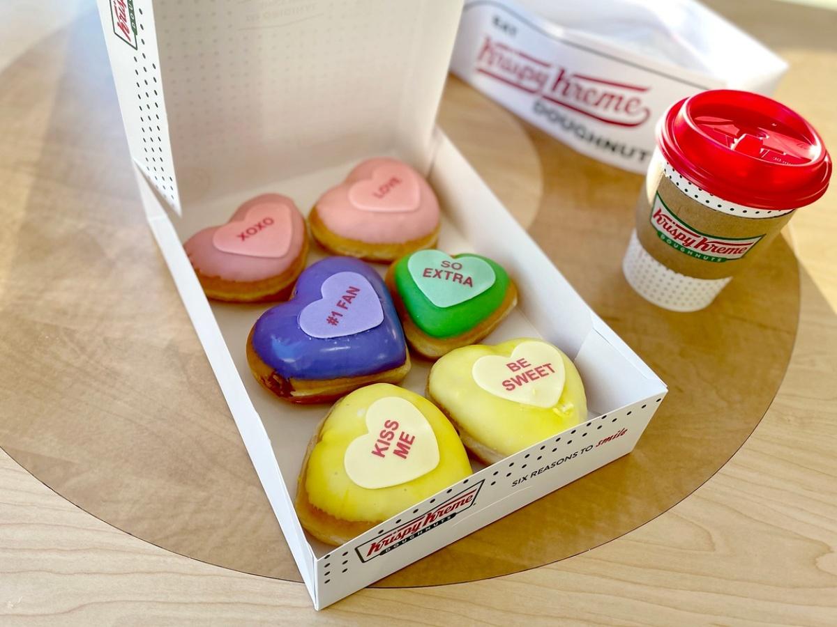 6 heart-shaped doughnuts from Krispy Kreme