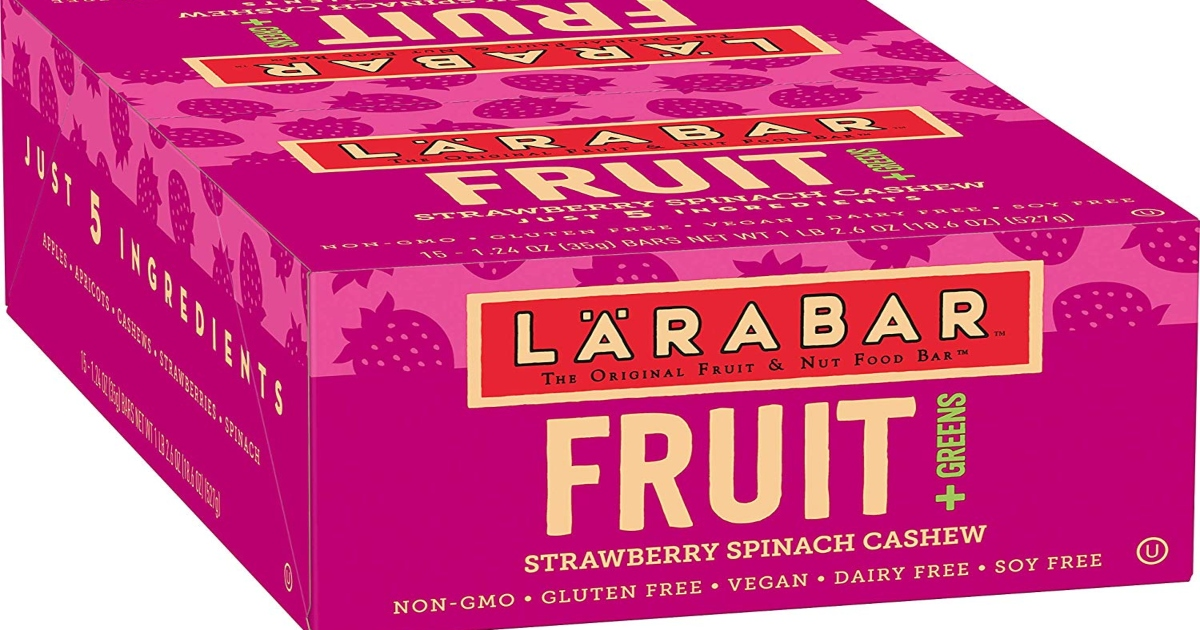 Larabar Fruits and Greens fifteen count box. It is a pink box.