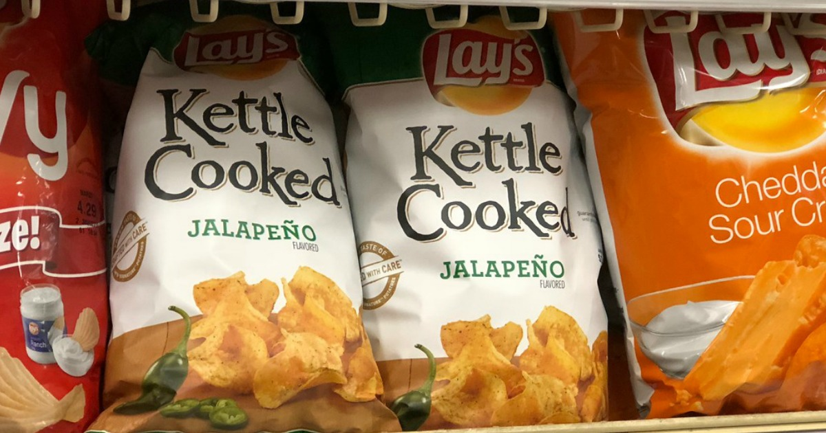 potato chip bags on store shelf