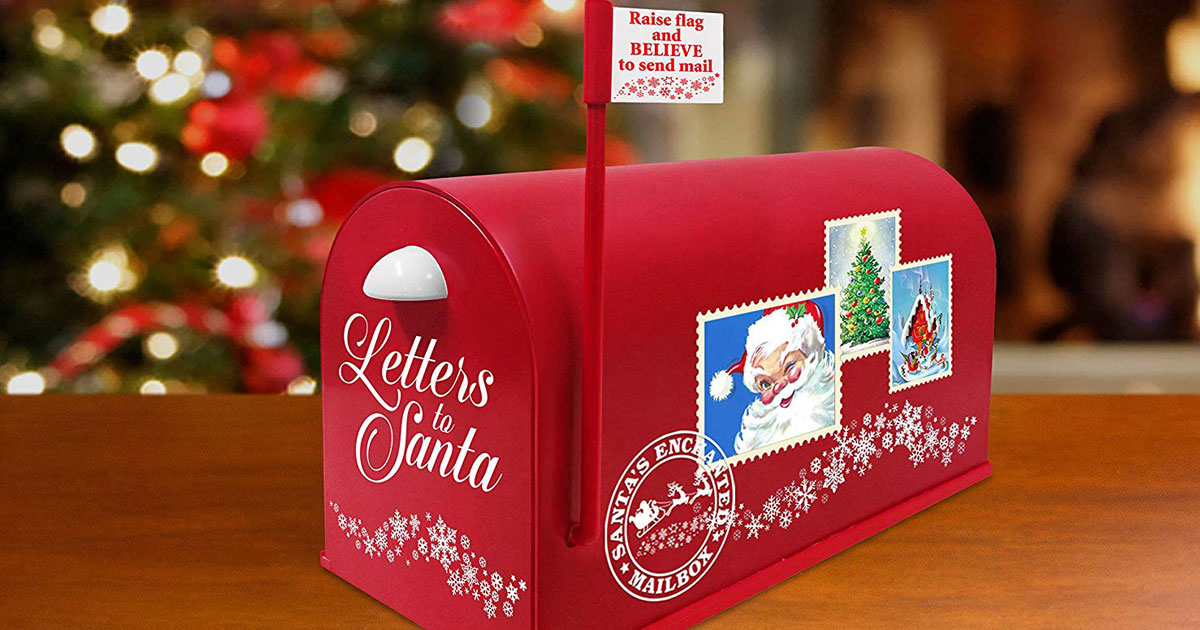 red mailbox with Letters to Santa on front and Christmas stamps on side
