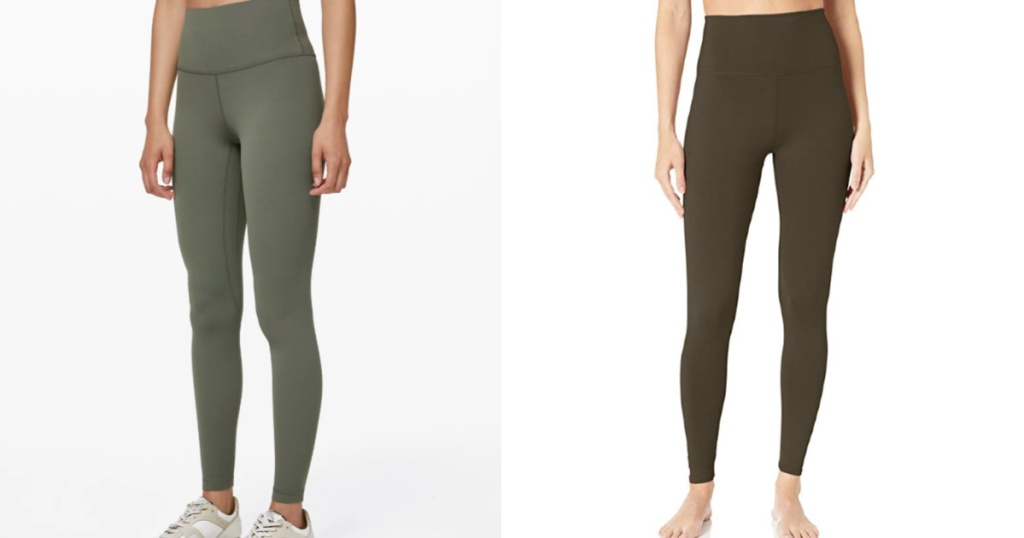 side-by-side of lululemon align pant to amazon dupe