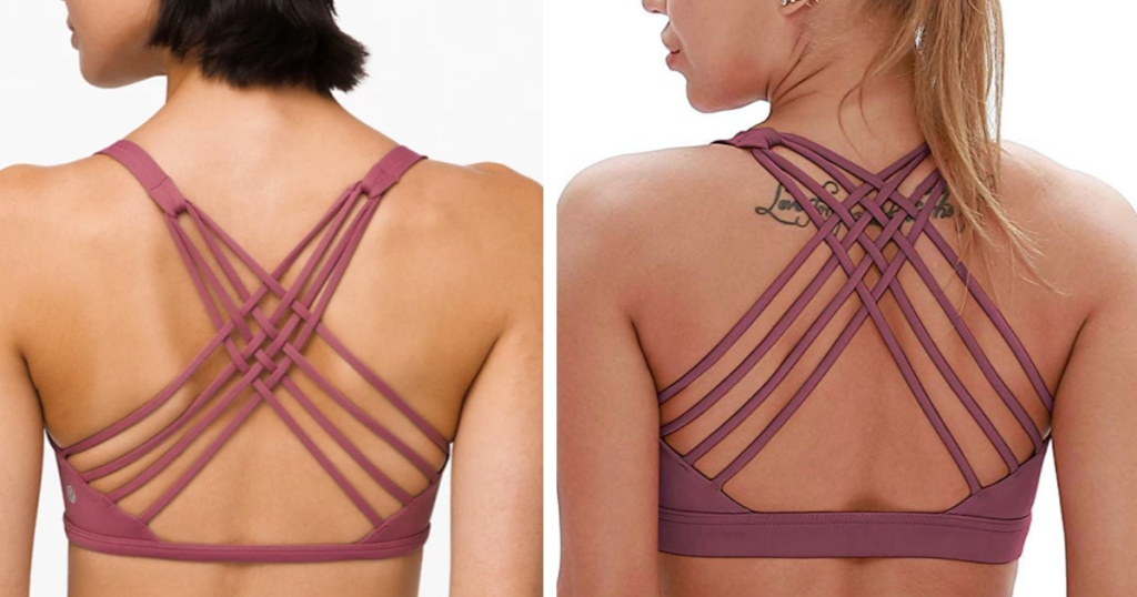 lululemon free to be strappy bra compared to amazon dupe