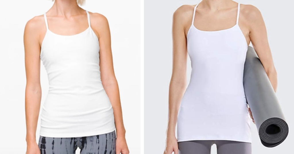 side-by-side of lululemon power y tank vs amazon dupe