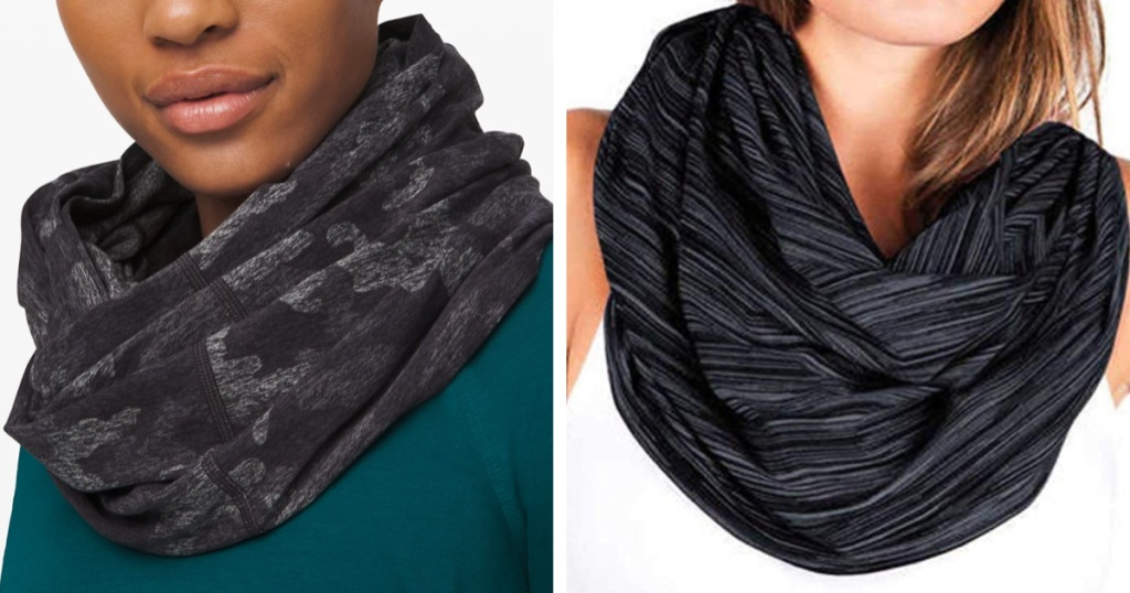 side-by-side of champion snap scarf to lululemon scarf