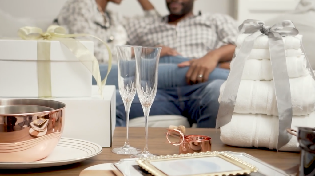 various wedding gifts sitting on coffee table