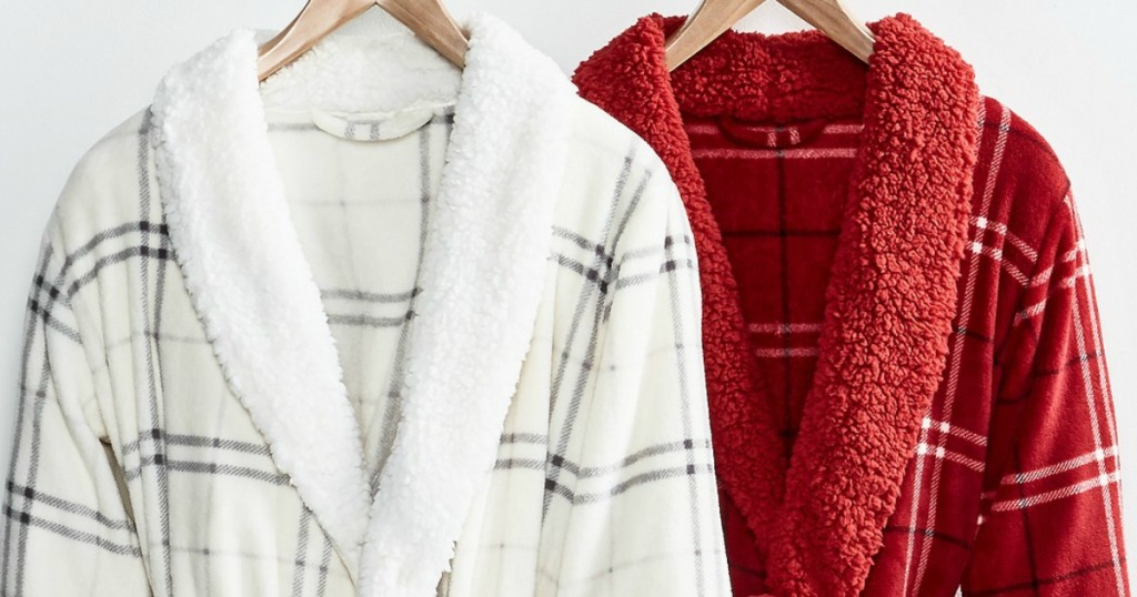 white and red robes on hangers