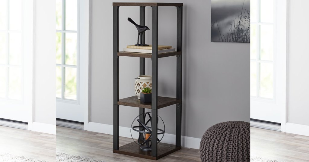 Mainstays Clarendon 3-Cube Metal Frame Book Case in living room