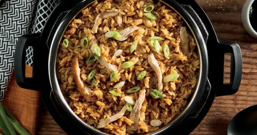 chicken and rice meal in Instant Pot