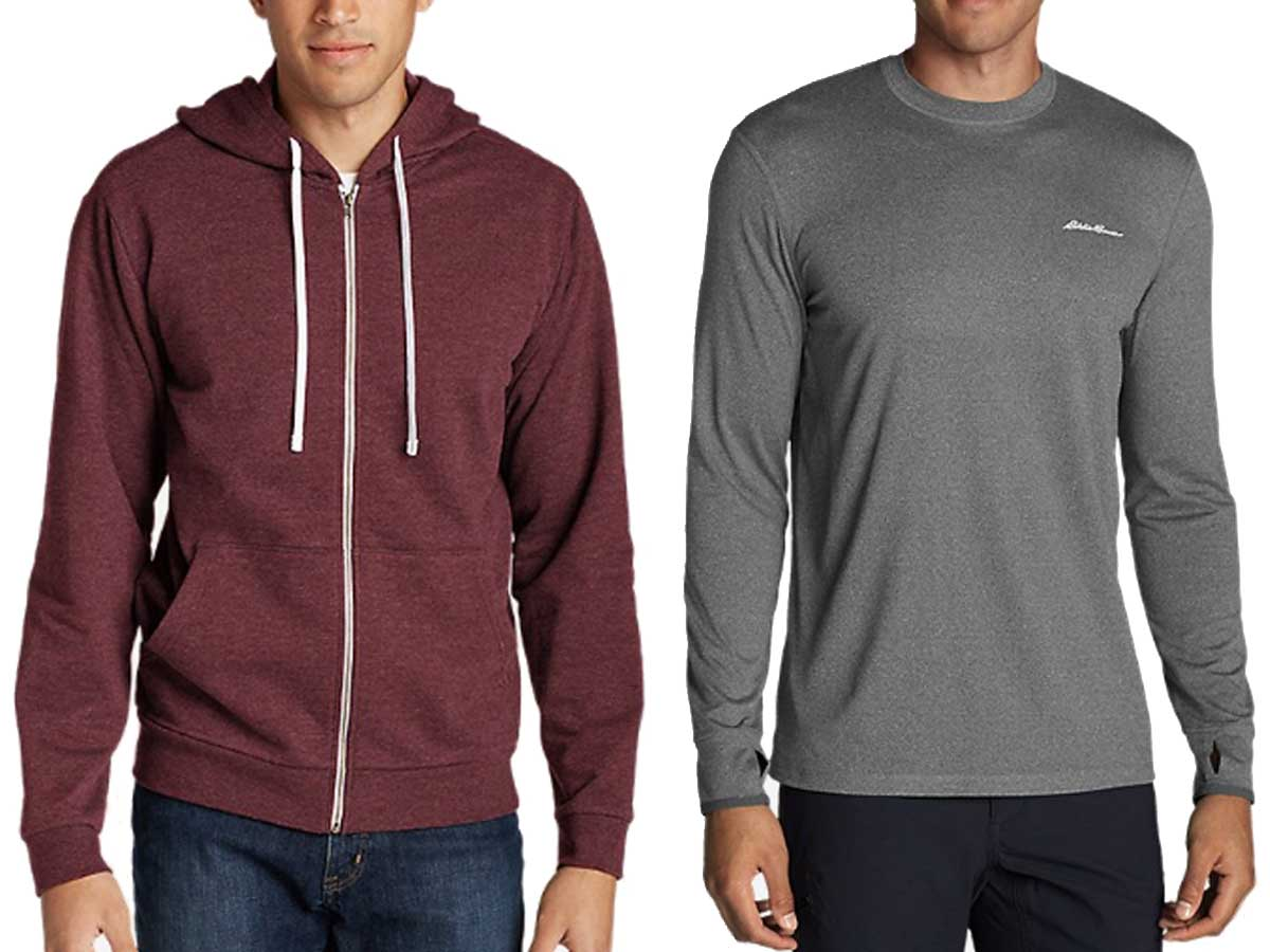 male models wearing zipper hoodie and a crew long sleeve tshirt