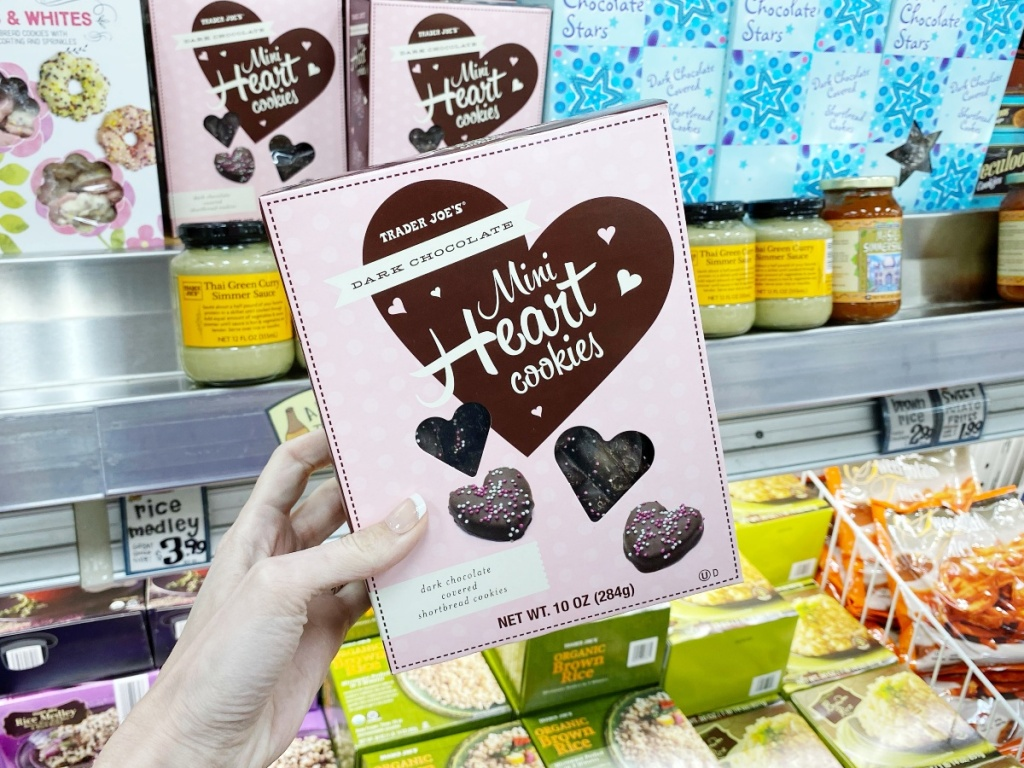 dark chocolate mini-heart cookies at Trader Joe's