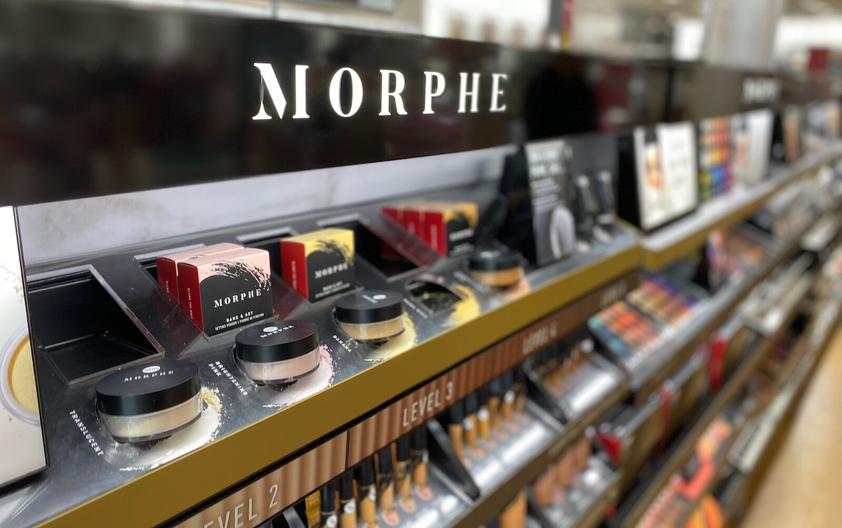 row of morphe products in store