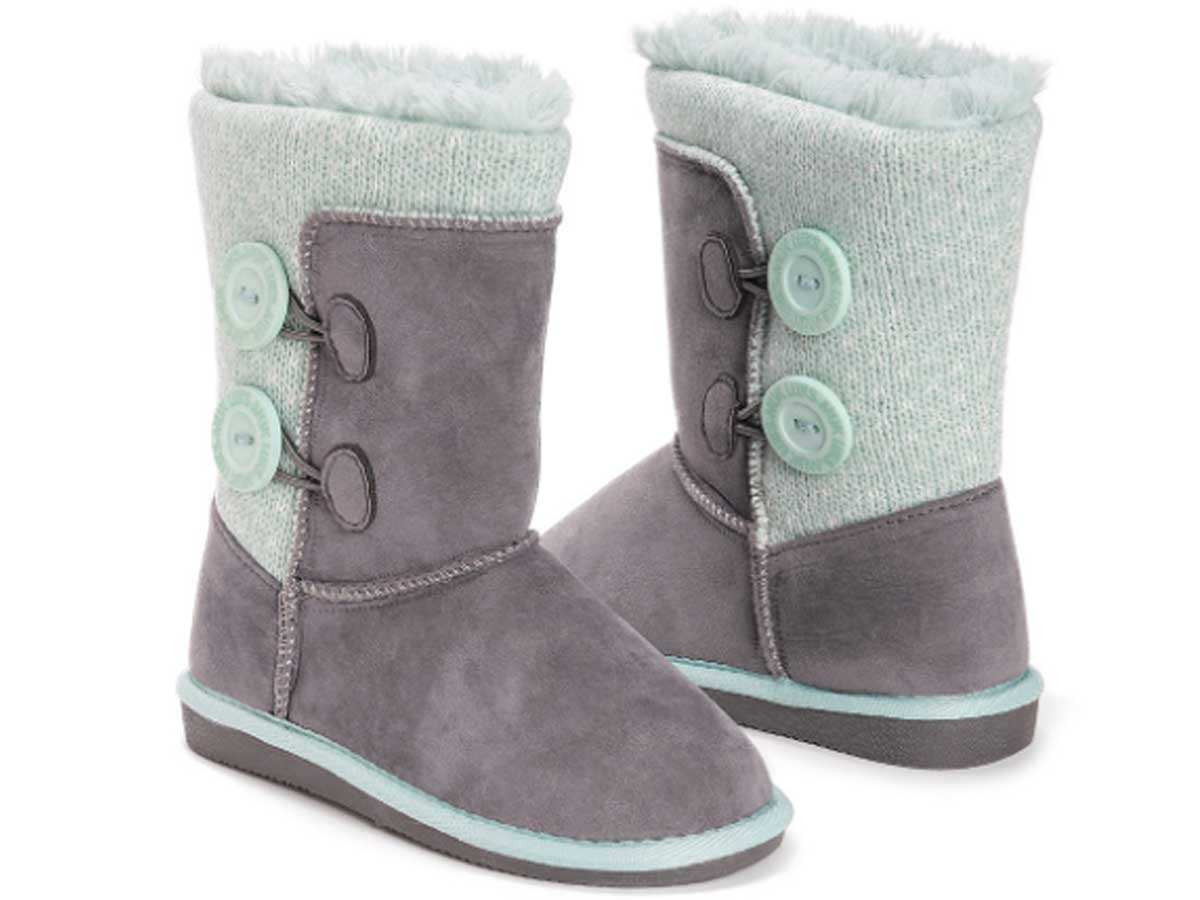 stock image of Muk Luks Gray Matilda Button Boot