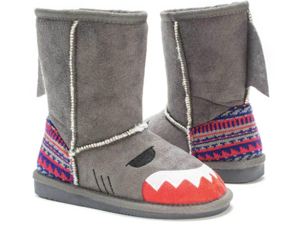 stock image of Muk Luks Gray Finn Shark Boot