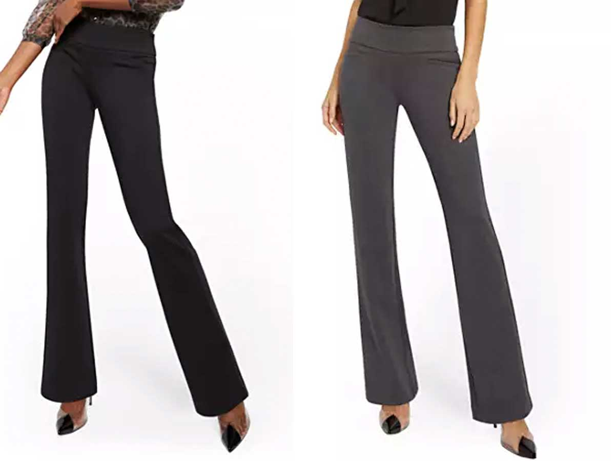 women models wearing new york & co whitney high waisted straight leg pants