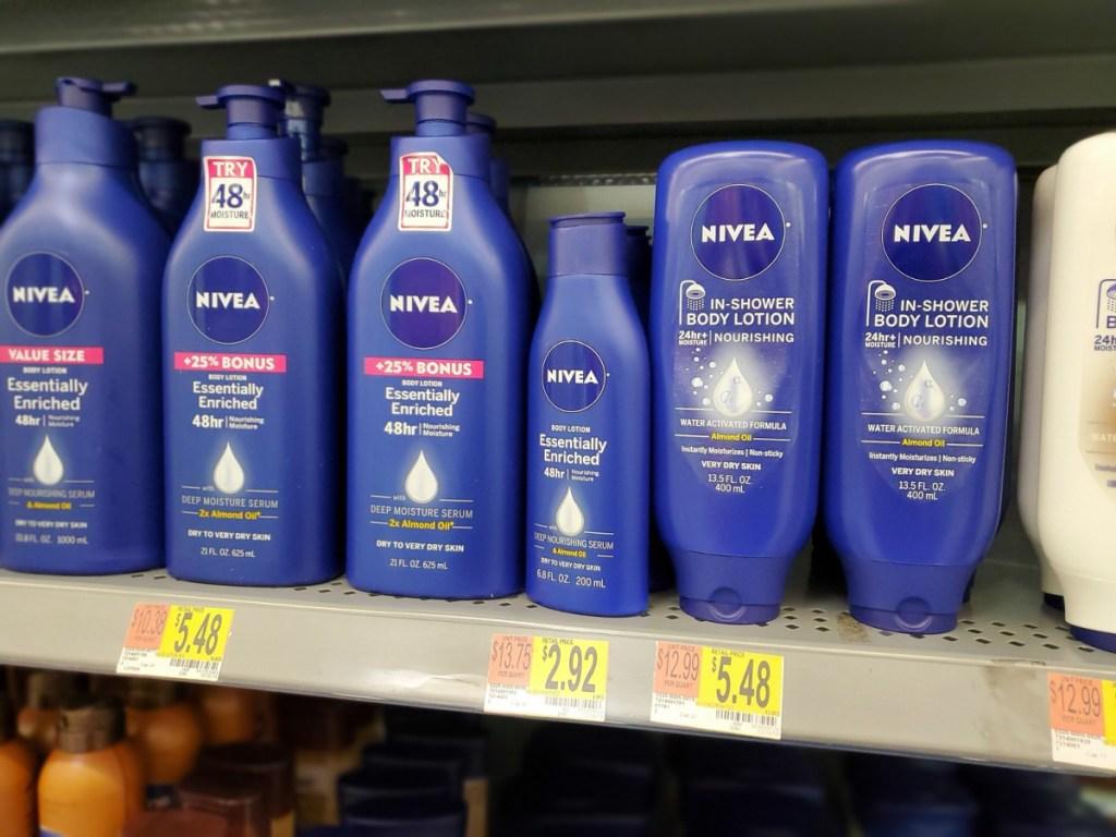nivea body lotion on shelf in store