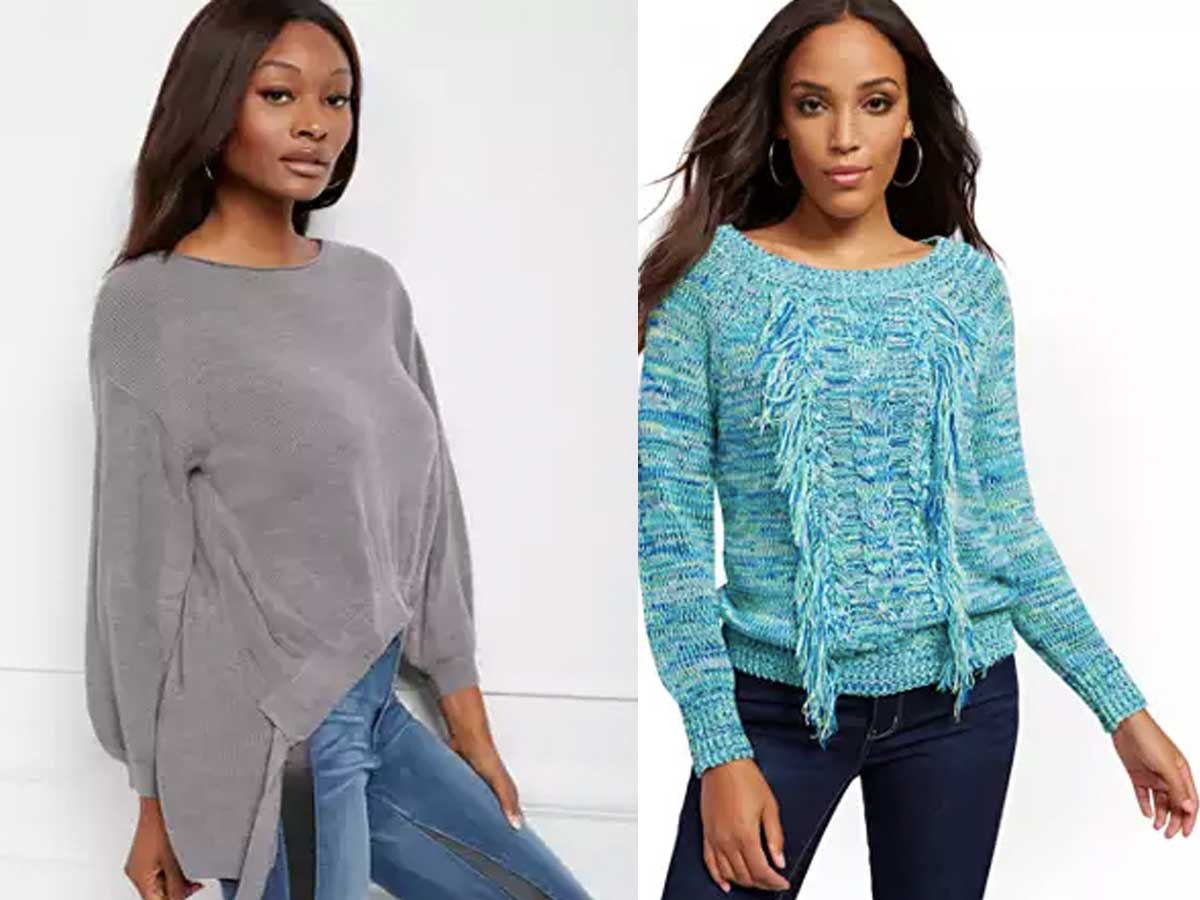women models wearing new york and co sweaters
