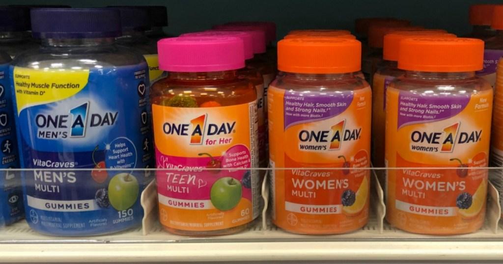bottles of vitamins on a store shelf