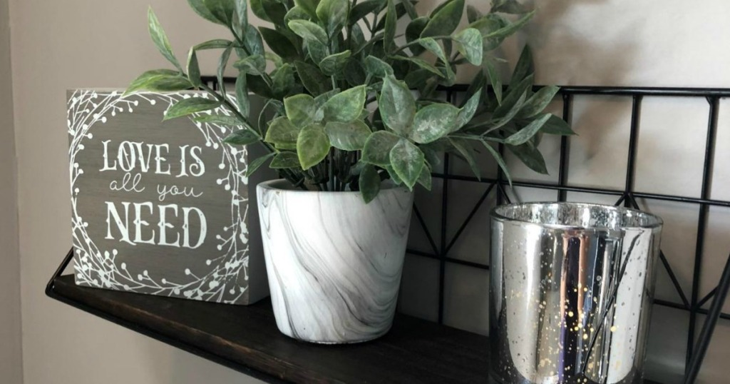 floating shelf with plant and decorative sign