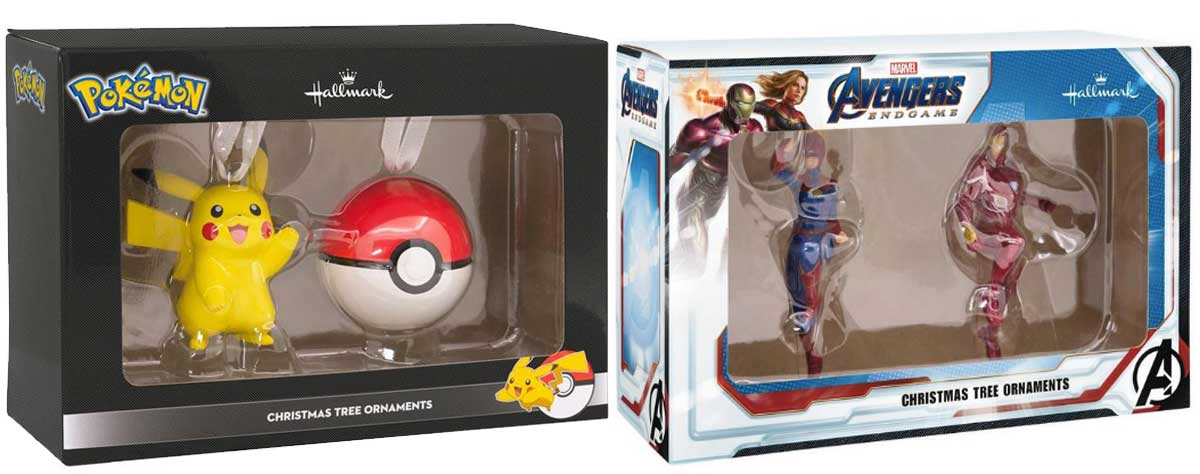 hallmark pokemon holiday ornament 2 pack and avengers 2 pack