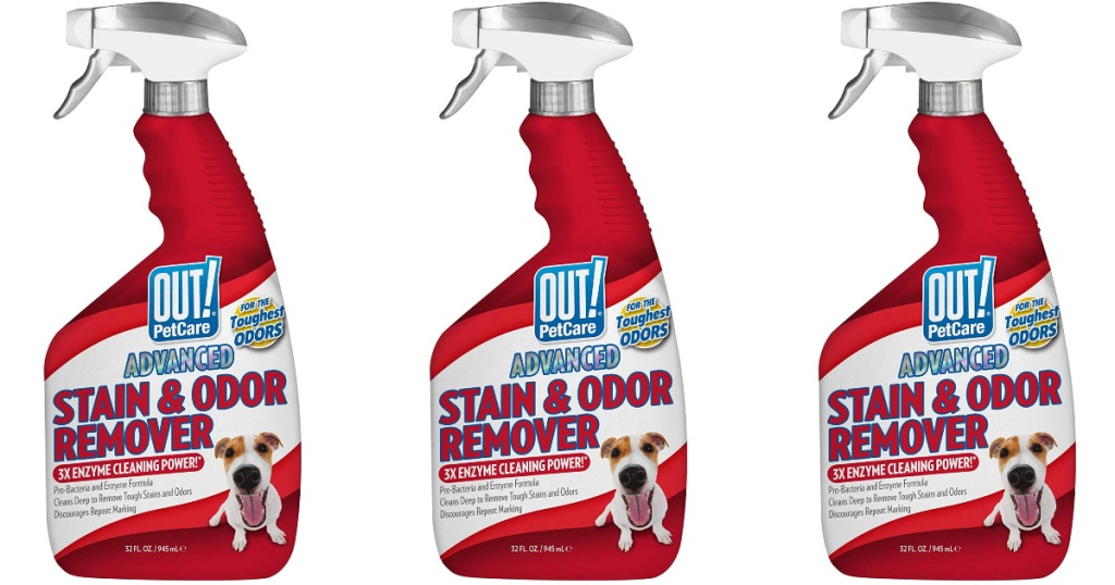 three bottles of out! petcare advanced stain and odor remover