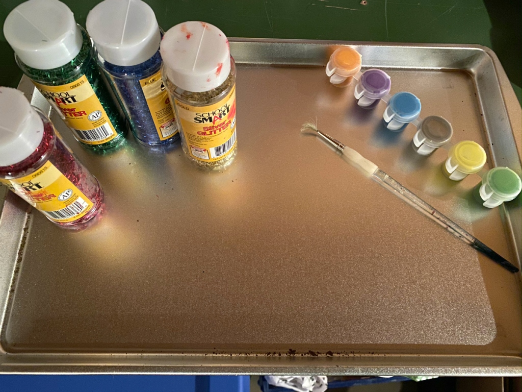 paint supplies on tray